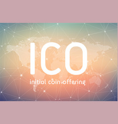 Ico initial coin offering banner vector