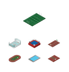 Isometric competition set of fighting volleyball vector