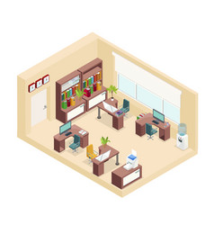 Isometric office workplace concept vector