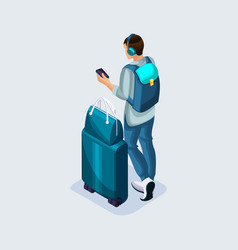 isometric young man listening to music at the vector image