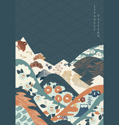 Japanese pattern with camellia flower mountain vector