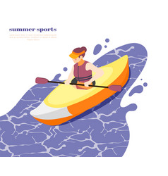 Kayaking sport isometric background vector