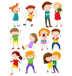 Kids with different emotions vector