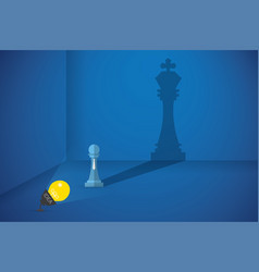 lightbulb flash the pawn chess to shows big shadow vector image