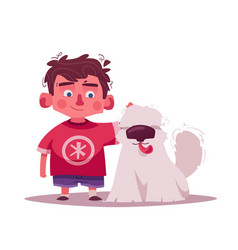 little kid with pet cartoon vector image
