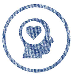 Love thinking head rounded fabric textured icon vector