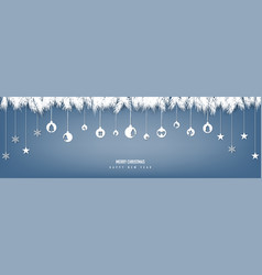 merry christmas decoration with paper cut hanging vector image