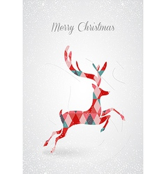Merry Christmas retro abstract deer postal card vector image