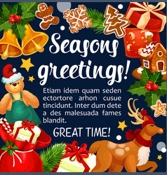 Merry christmas santa gifts greeting card vector