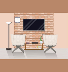 modern loft room interior with two cozy armchairs vector image