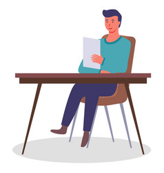 office worker at table with a document vector image