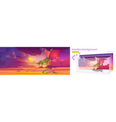 Parallax background for game with dragon in sky vector