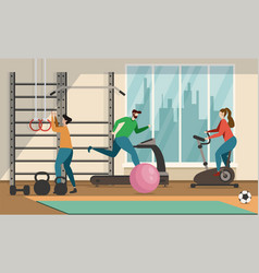 people and sports motivation flat cartoon banner vector image
