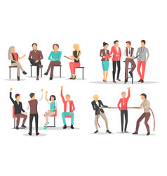 people at business training raise qualification vector image