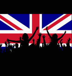 people silhouettes celebrating great britain vector image