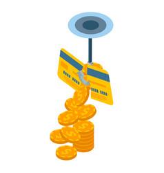 phishing credit card icon isometric style vector image