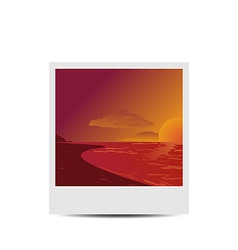 Photoframe with sunset beach background vector image