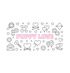 puppy love outline horizontal vector image
