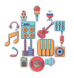 recording studio symbols icons set cartoon style vector image