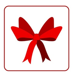 Red bow with ribbons icon vector image