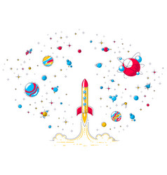 Rocket launch into undiscovered space surrounded vector
