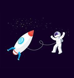 Rocket space astronaut floating in cosmos ship vector