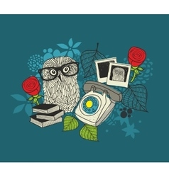 Romantic print with cute male owl and female owl vector
