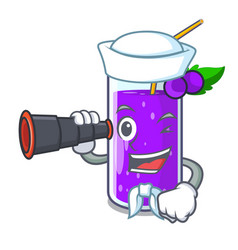 Sailor with binocular grape juice in glass a vector