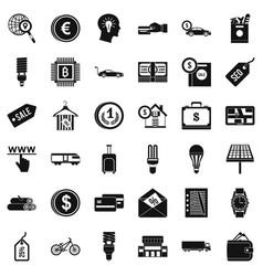 Save economy icons set simple style vector