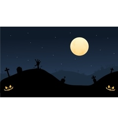 Scary Halloween in tomb silhouette vector