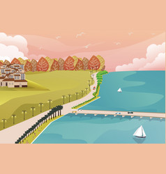 Sea side view from top with grass forest and big vector