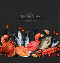 Seafood card realistic organic shop mock vector