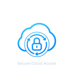 Secure cloud access icon on white vector
