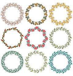 Set floral decorative ornamets vector