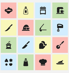 set of 16 editable meal icons includes symbols vector image