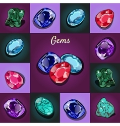 Set of game icons of precious stones 6 stones vector image