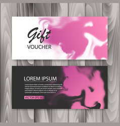 Set of horizontal gift cards with ink background vector