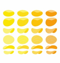 Set of potato chips Golden Orange and yellow wavy vector