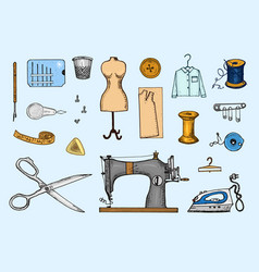 set sewing tools and materials or elements vector image