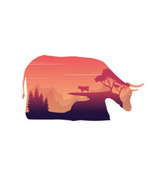silhouette of inside cow at sunset landscape vector image