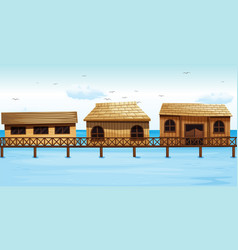 Three vacation houses on water vector