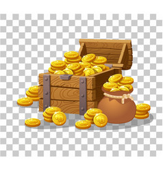 Treasure of gold coins on transparent background vector