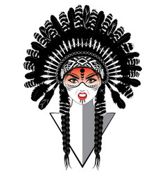 tribal girl in war bonnet vector image