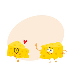 Two funny cheese chunk characters good quality vector