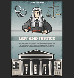 Vintage colored judicial system poster vector