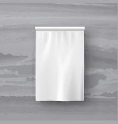 White textile pennant flag on marble back vector