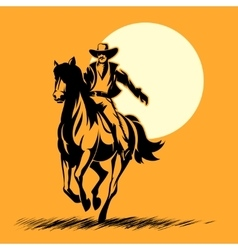 Wild west hero cowboy silhouette riding horse at vector image