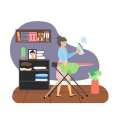 Woman housemaid housekeeper ironing man t-shirt vector