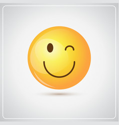 yellow smiling cartoon face winking people emotion vector image