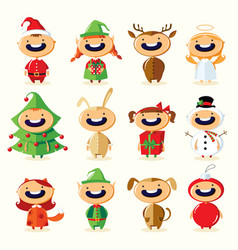 christmas set of cute cartoon children in colorful vector image